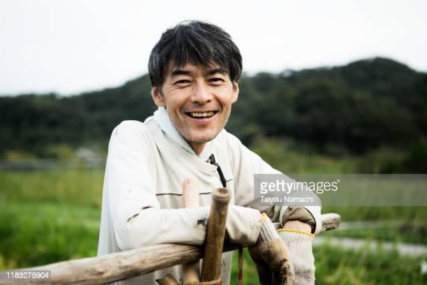portrait of male farmer - 中年の男性一人 ストックフォトと画像