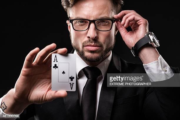 Porträt eines männlichen gambler