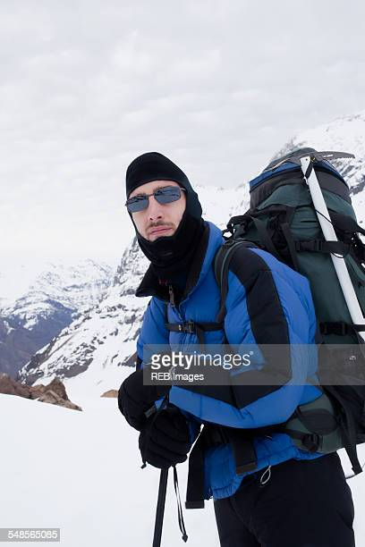 Portrait of male mountain climber on mountain, Santiago, Chile