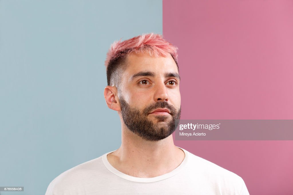 Portrait of Male with Pink Hair : Stock Photo
