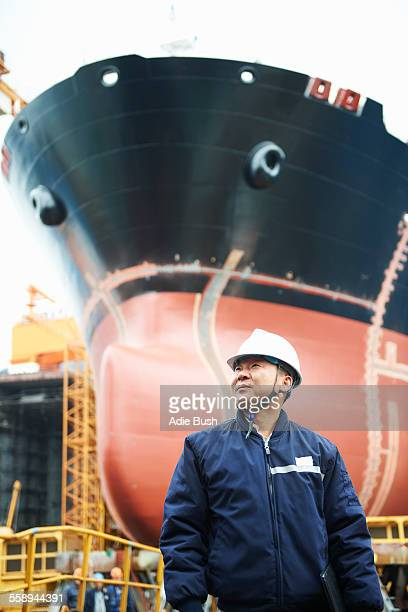 Portrait of male worker at shipyard, GoSeong-gun, South Korea