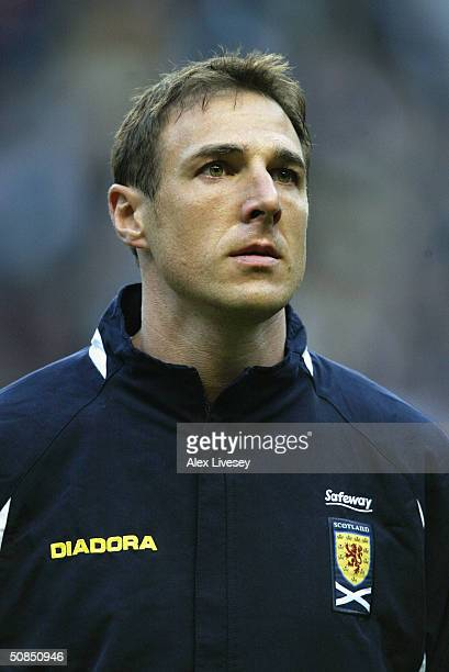 A portrait of Malky Mackay of Scotland before the Friendly International match between Denmark and Scotland at The Parken Stadium on April 28 2004 in...