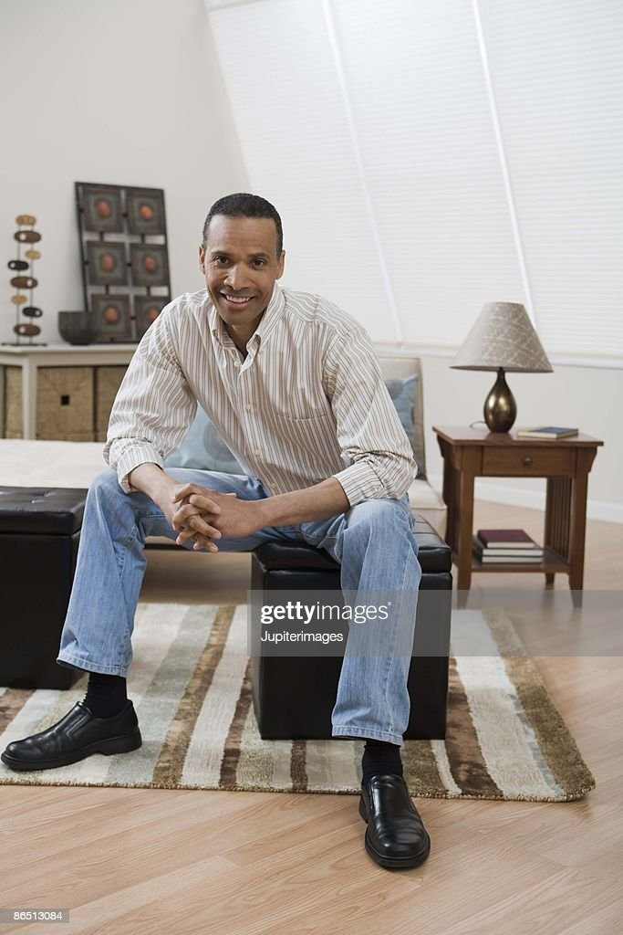 Portrait of man at home : Stock Photo