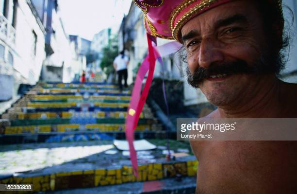 Portrait of man in Escadaria Selaron, Santa Teresa.