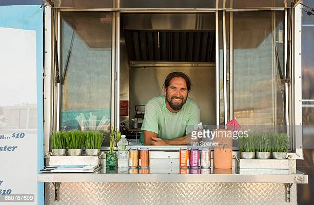 Portrait of man in fast food trailer