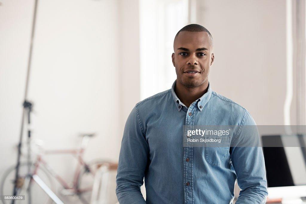 Portrait of Man in photo studio : Stock Photo