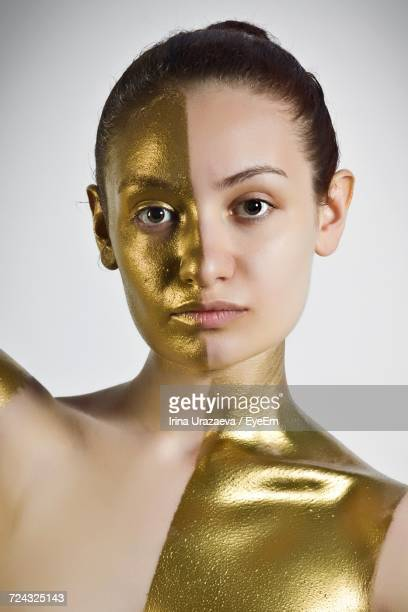 portrait of man looking at camera - body paint stock pictures, royalty-free photos & images