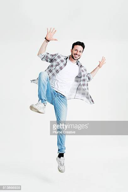 portrait of man - jumping stock pictures, royalty-free photos & images