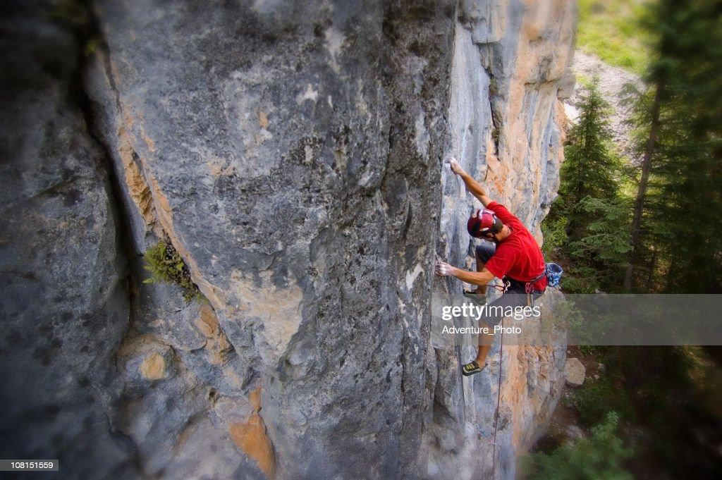 Portrait of  Man Rock Climbing Mountain Cliff : Stock Photo