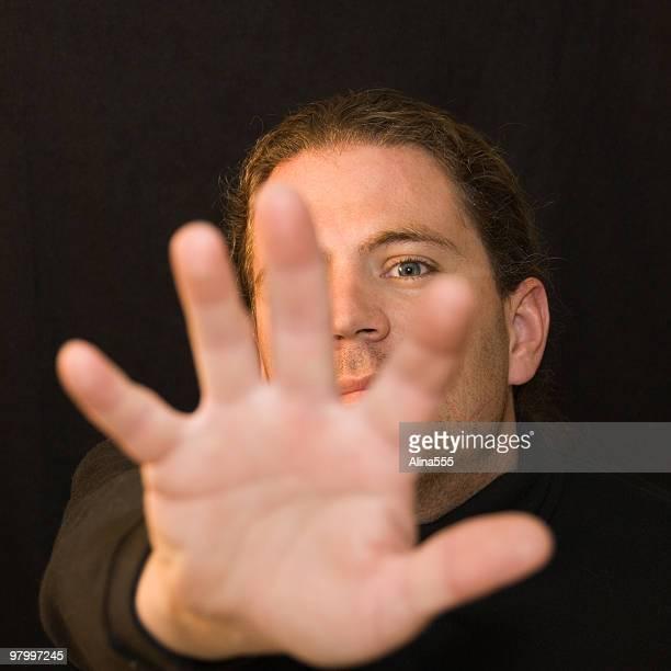 Portrait of man saying NO