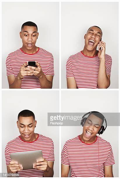 Portrait of man using technology