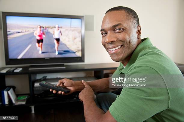 Portrait of Man Watching TV