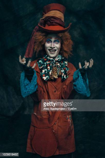 portrait of man wearing costume against black background - cosplay stock pictures, royalty-free photos & images