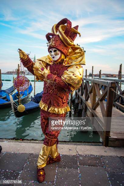 portrait of man wearing costume during carnival - venice carnival stock pictures, royalty-free photos & images