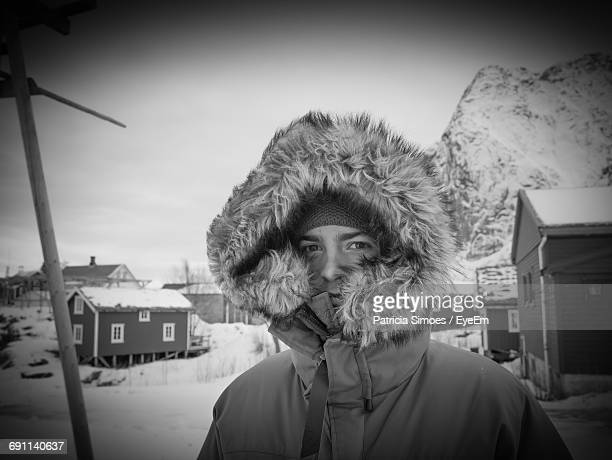 portrait of man wearing warm clothing during winter - extreme weather stock photos and pictures