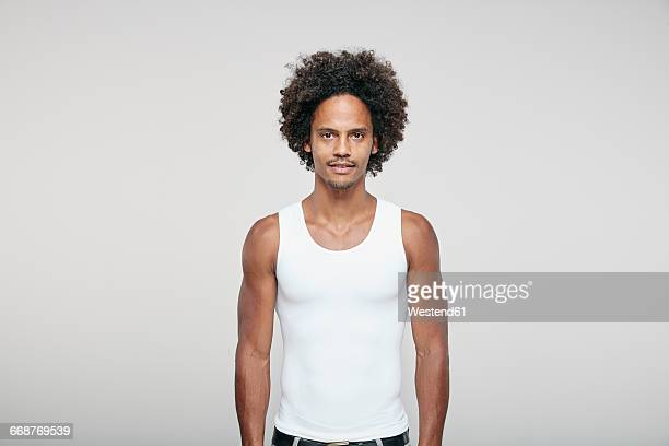 Portrait of man with afro