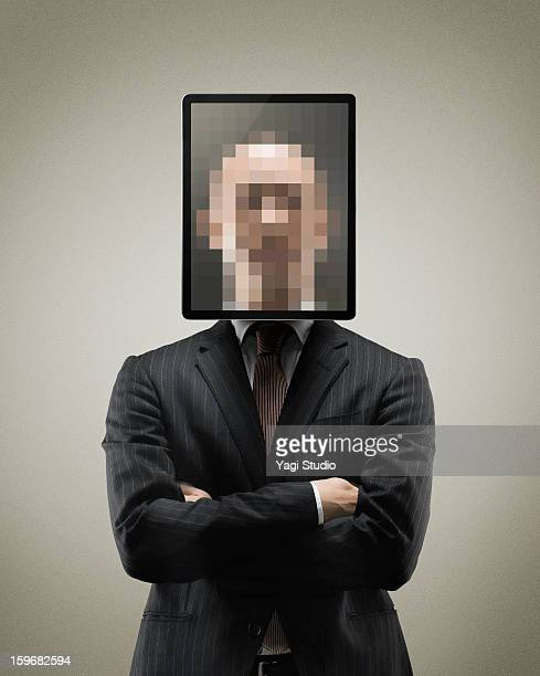 portrait of man with digital tablet - striped suit stock pictures, royalty-free photos & images