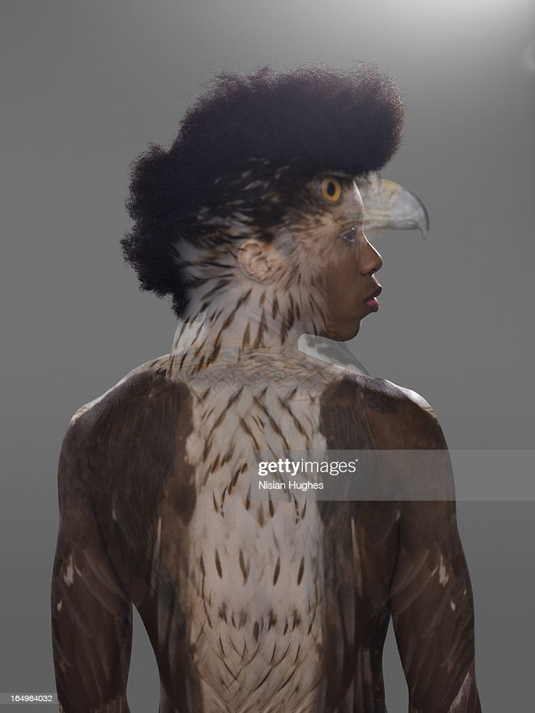 Portrait of man with Eagle overlay on him : Stock Photo