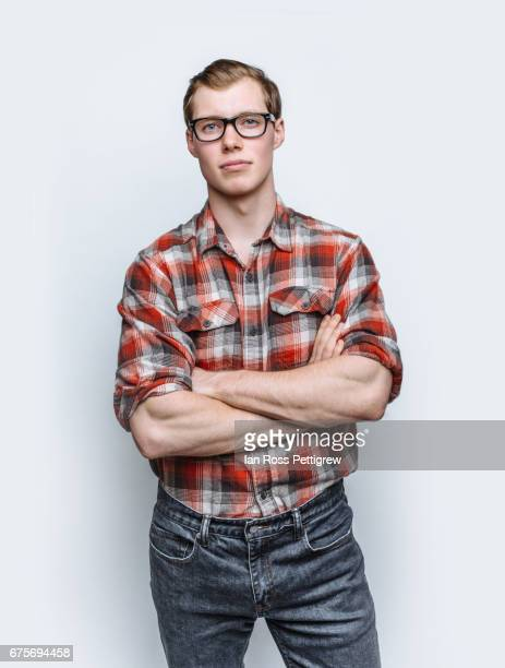 Portrait of man with jeans & red check shirt