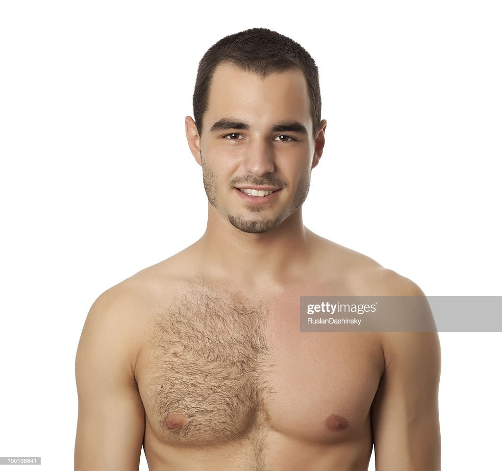 Portrait of man with wax on his chest. : Stock Photo