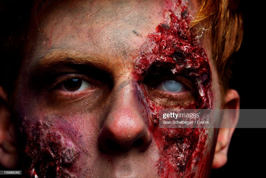 Portrait Of Man With Zombie Make-Up : Stock Photo