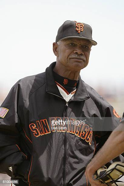 Portrait of Manager Felipe Alou of the San Francisco Giants during the game against the Pittsburgh Pirates at SBC Park on May 16 2004 in San...