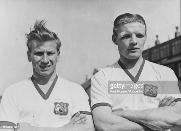 Portrait of Manchester United football players and 'Busby Babes' Mark Jones and Bobby Charlton pictured together circa 1957 Mark Jones would go on to...