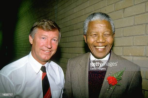 Portrait of Manchester United Manager Alex Ferguson and ANC Leader Nelson Mandela during their tour to South Africa Mandatory Credit David...