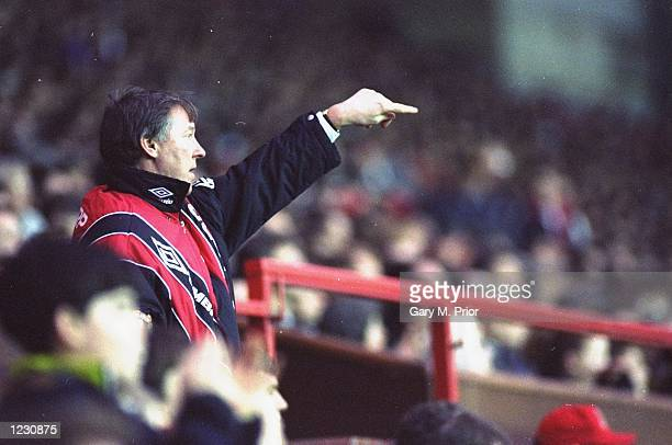 Portrait of Manchester United Manager Alex Ferguson during a Barclays League Division One match against Brighton and Hove Albion at Old Trafford in...