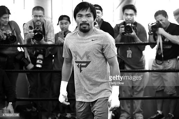 Portrait of Manny Pacquiao before a workout in preparation for his fight against Floyd Mayweather Jr at Wild Card Boxing Club on April 15 2015 in Los...