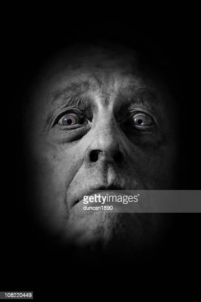 Porträt von Mann-Gesicht, schwarz und weiß