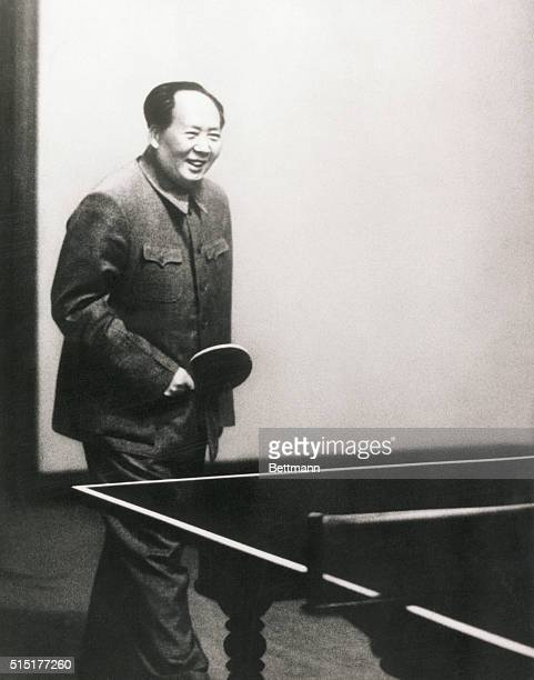 Portrait of Mao Tsetung 18931976 founder of the People's Republic of China playing table tennis