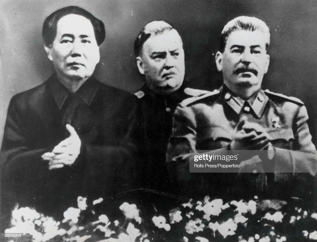 A portrait of Mao Tse-tung the Chinese Comminist leader and the first Chairman of the people's Republic (left), Joseph Stalin Soviet revolutionary and leader (right) and Soviet politician Nikolai Bulganin (centre), picture taken in Moscow in the early 195 : News Photo