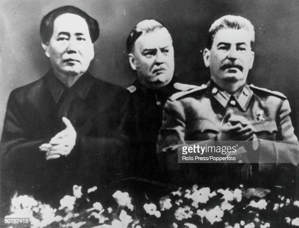 A portrait of Mao Tsetung the Chinese Comminist leader and the first Chairman of the people's Republic Joseph Stalin Soviet revolutionary and leader...