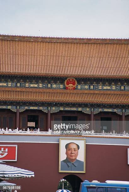 A portrait of Mao Zedong at the entrance to the Forbidden City Tiananmen Gate Tiananmen Square Beijing China
