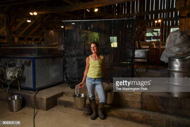 Portrait of maple syrup producer and artist Bonnie Baird her farm Baird Farm on July 20 2017 in North Chittenden Vt