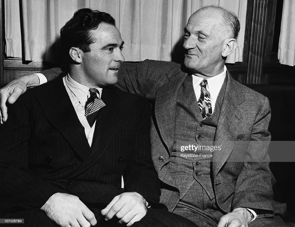 Portrait Of Marcel Cerdan And Mike Jacobs Before His Fight Against Georgie Abrams At New York In Usa On December 1946