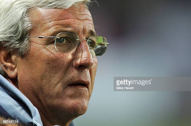 A portrait of Marcello Lippi manager of Italy prior to the International friendly between Italy and Ivory Coast at the Stade de Geneva on November 16...
