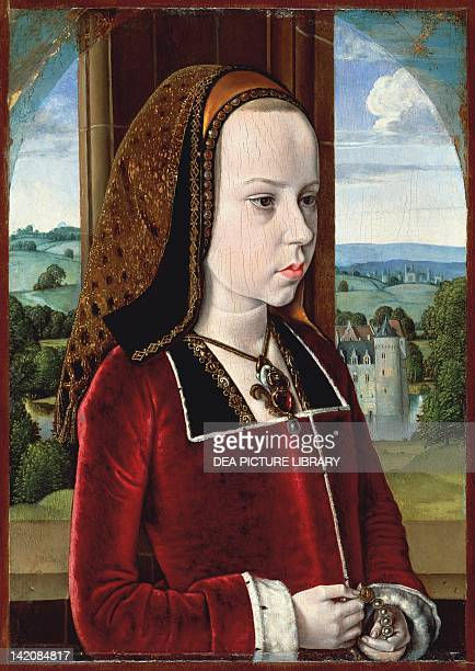Portrait of Margaret of Austria, 1490 by Jean Hey, known as the Master of Moulins . Oil on oak panel, 32.7 x 23 cm.
