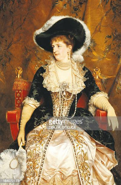 Portrait of Margherita of Savoy queen consort of King Umberto I King of Italy painting by Michele Gordigiani ca 1890 Porziano Castle Lazio Italy