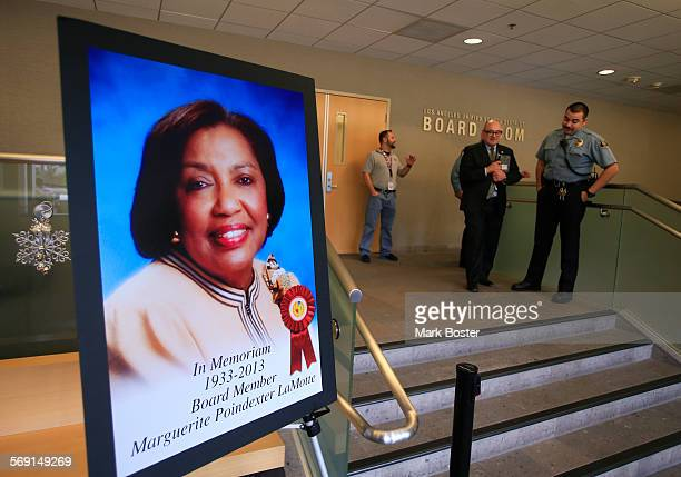 A portrait of Marguerite Poindexter LaMotte who died earlier this month stands near the doors to the school board meeting room at LAUSD headquarters...