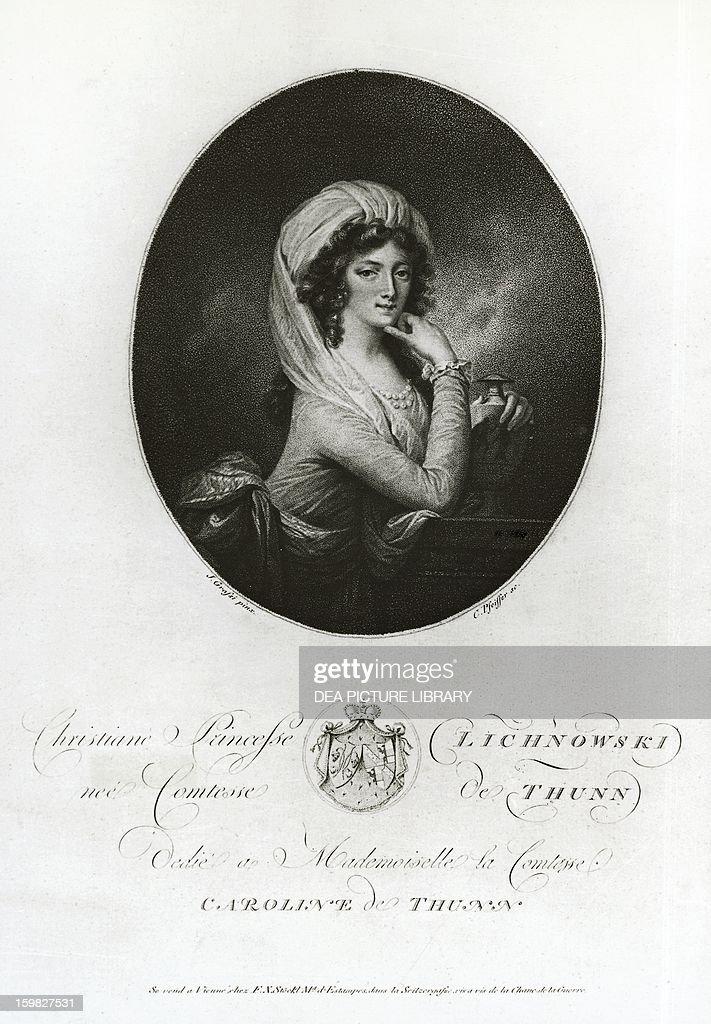 Portrait of Maria Christiane di Thun-Hohenstein Lichnowsky (1765-1841), pianist and friend of Ludwig van Beethoven. Engraving by Carl Herrmann Pfeiffer, drawing by Joseph von Grassi. Vienna, Österreichische Nationalbibliothek