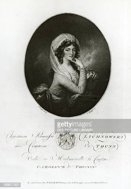 Portrait of Maria Christiane di ThunHohenstein Lichnowsky pianist and friend of Ludwig van Beethoven Engraving by Carl Herrmann Pfeiffer drawing by...
