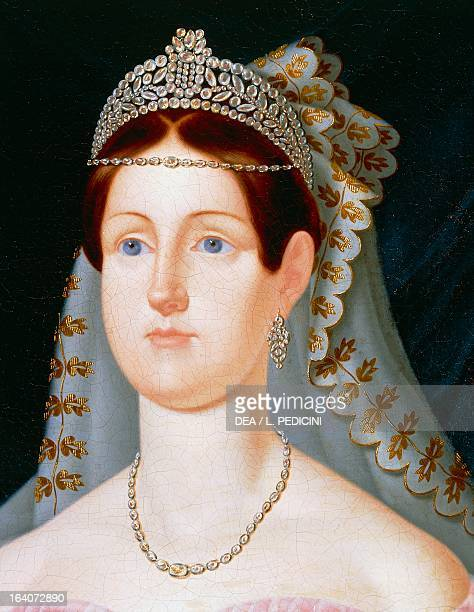 Portrait of Maria Cristina of Savoy Princess of Sardinia and Queen consort of Ferdinand II King of the Two Sicilies painting by Caracciolo detail oil...