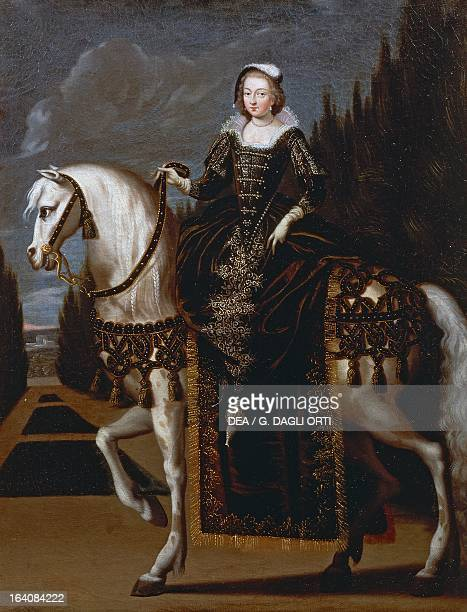 Portrait of Maria de Medici on horseback daughter of Francesco I de Medici Grand Duke of Tuscany and Joanna of Austria second wife of Henry IV of...