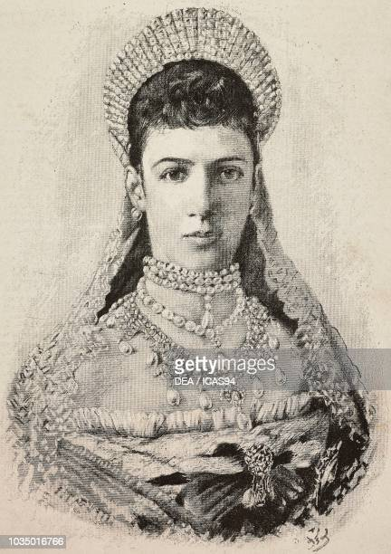 Portrait of Maria Feodorovna , Tsarina of Russia, engraving from a drawing by Berise, from L'Illustrazione Italiana, year 10, no 22, June 3, 1883.