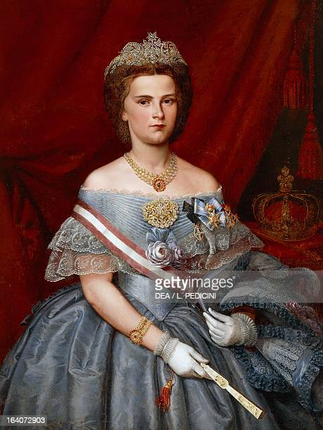 Portrait of Maria Sofia of Bavaria queen consort of King Francis II King of the Two Sicilies painting oil on canvas 1135 x88 cm Capua Museo...