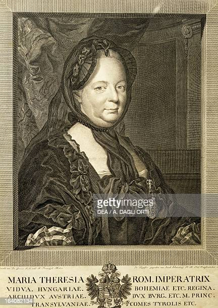 Portrait of Maria Theresa , Empress consort of Francis I , emperor of the Holy Roman Empire, print by Jakob Mathias Schmuzer . Vienna, Haydn-Museum