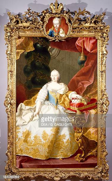 Portrait of Maria Theresa , Empress consort of Francis I , emperor of the Holy Roman Empire, painting by Martin van Meytens II , 1744. Vienna,...