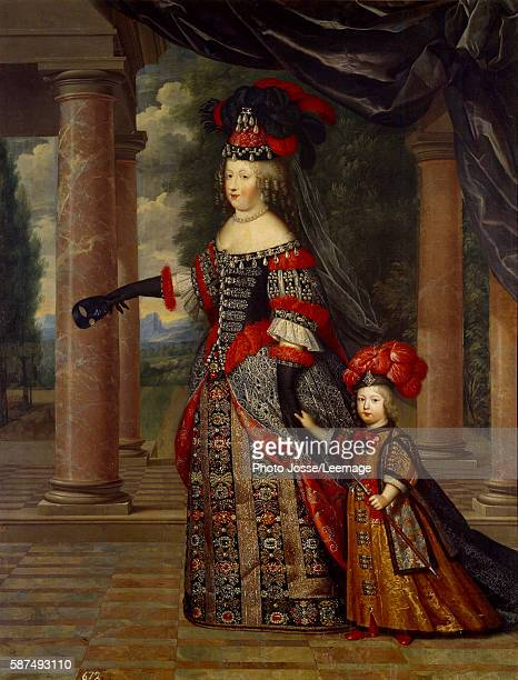Portrait of Maria Theresa of Austria Queen of France with her son the Daupin Louis of France Painting by Pierre Mignard 17th century Prado Museum...